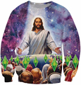 3d galaxy print Jesus hoodies sweat shirts beauty graphic crewneck harajuku style unisex tracksuit men warm outerwear