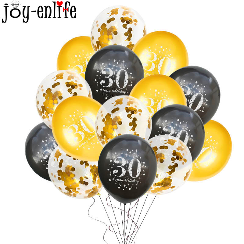 5 15pcs Adult Birthday Balloons Gold Black 30 40 50 60 Years Old Anniversary Latex Balloon Wedding Decor