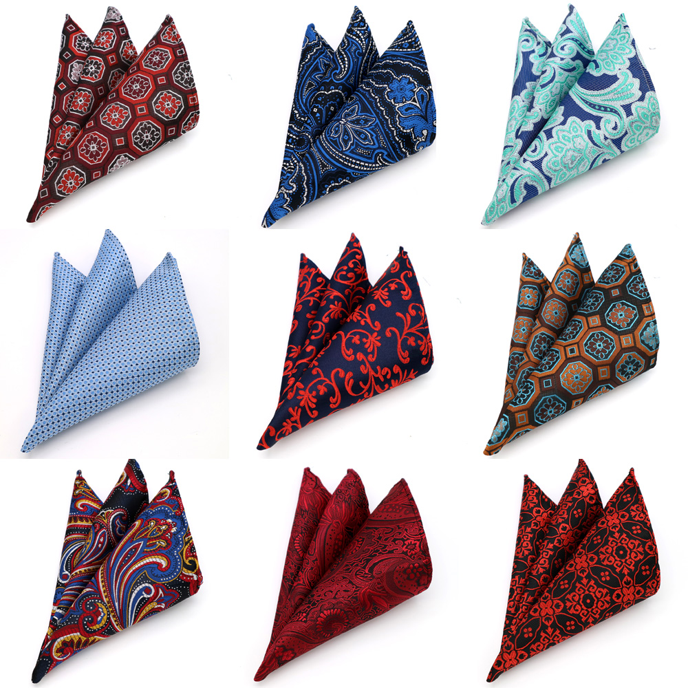 Luxury 25*25CM Factory Men's Vintage Floral Plaid Silk Handkerchief Pocket Square Men Fashion Hanky Wedding Party Chest Towel