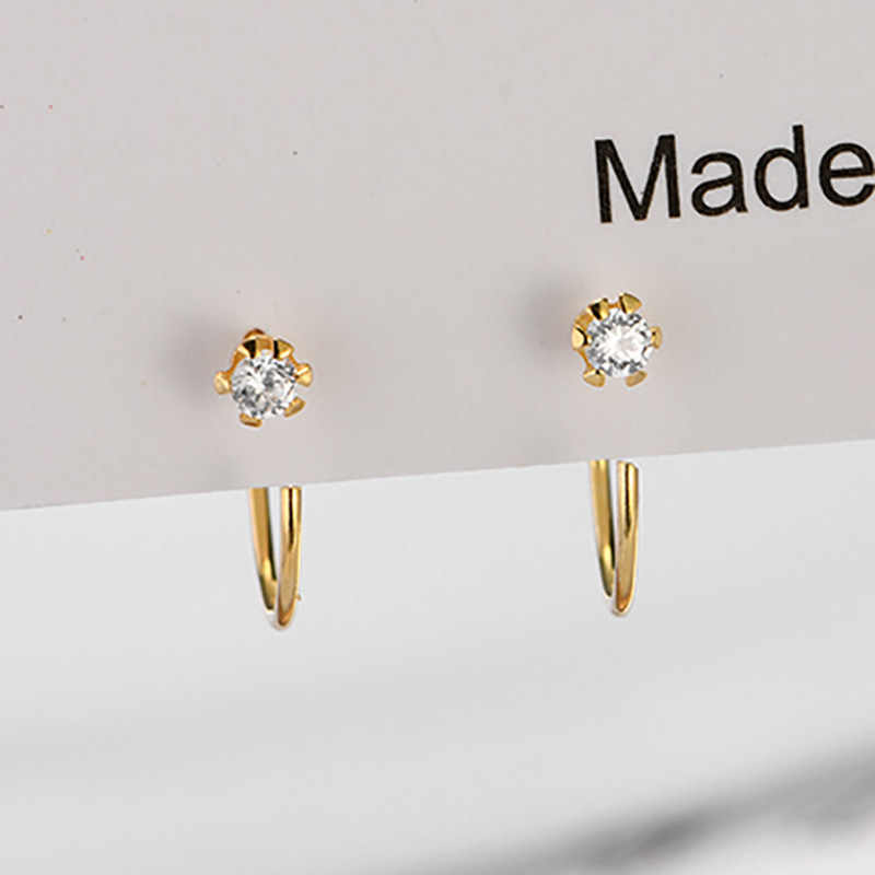 Martick Fashion Europe Brand Shining Cubic Earrings 925 Sterling Silver Gold Color Simple Ear For Woman Wedding Jewelry GSE72