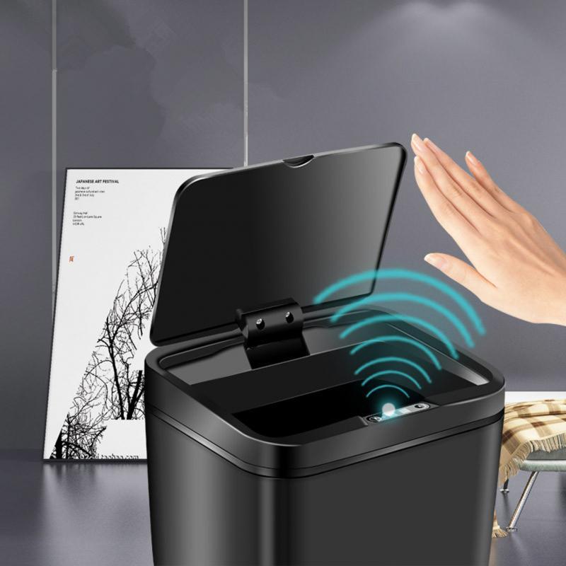 Capteur automatique à Induction support de sac à ordures rectangulaire 12L poubelle de voiture poubelle à Compost poubelle de cuisine poubelle Can'