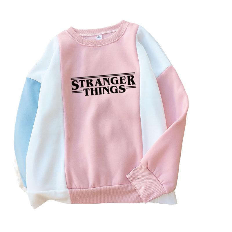 New Fashion Autumn Stranger Things Letter Print Sweatshirt Women Harajuku Casual Fashion Spell Color Stitching Thick Hoodies