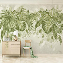 Watercolor fresh green leaves TV background wall professional making murals custom photo wallpaper