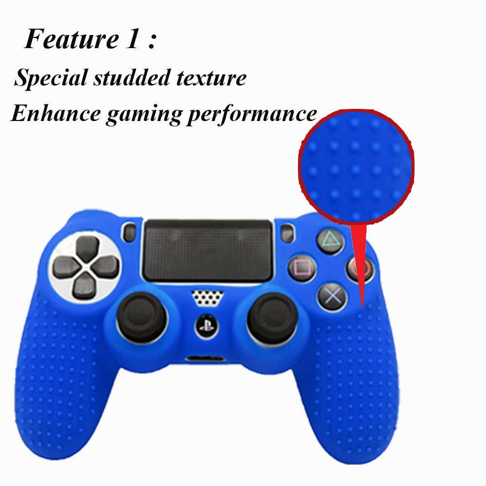 Силиконовый Противоскользящий чехол IVYUEEN для sony playstation Dualshock 4 PS4 Pro, тонкий чехол для контроллера с захватами для большого пальца