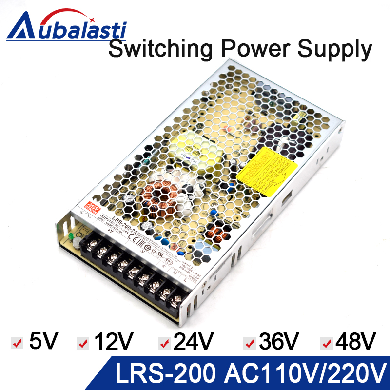 meanwell power supply LRS 200 switching power supply 5V 12V 24V 36V 48V Power Supply use for cnc router engraving machine