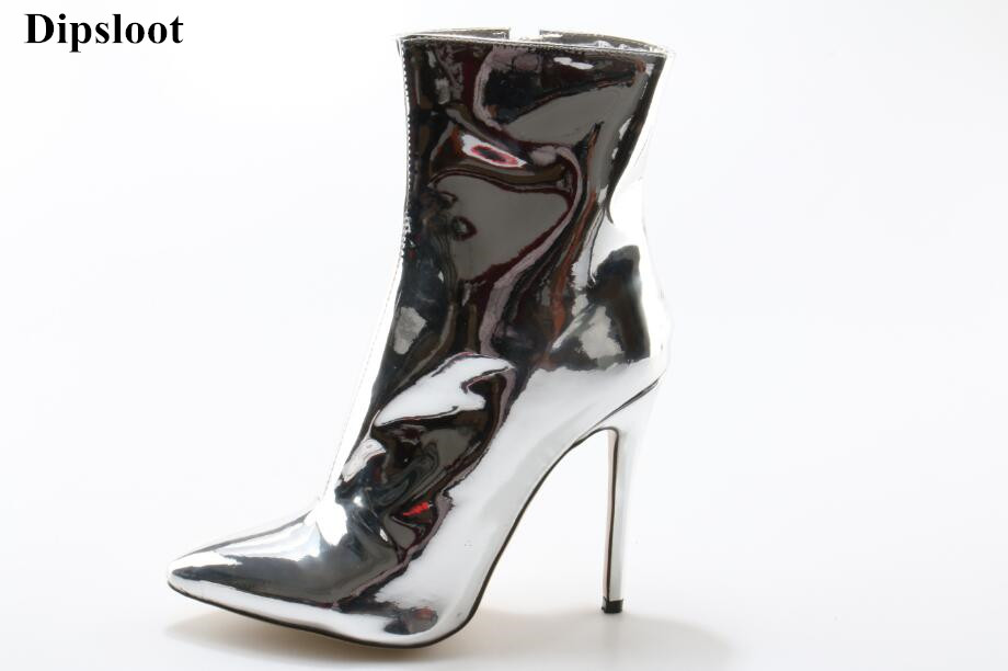 Dipsloot 2018 Woman Fashion Mirror Leather Ankle Boots Sexy Pointed Toe Shoes Woman Side Zipper High Heels Dress Shoes Lady 2018 new arrival women s fashion winter high heels pu leather ankle boots woman sexy pointed toe side zipper buckle dress shoes