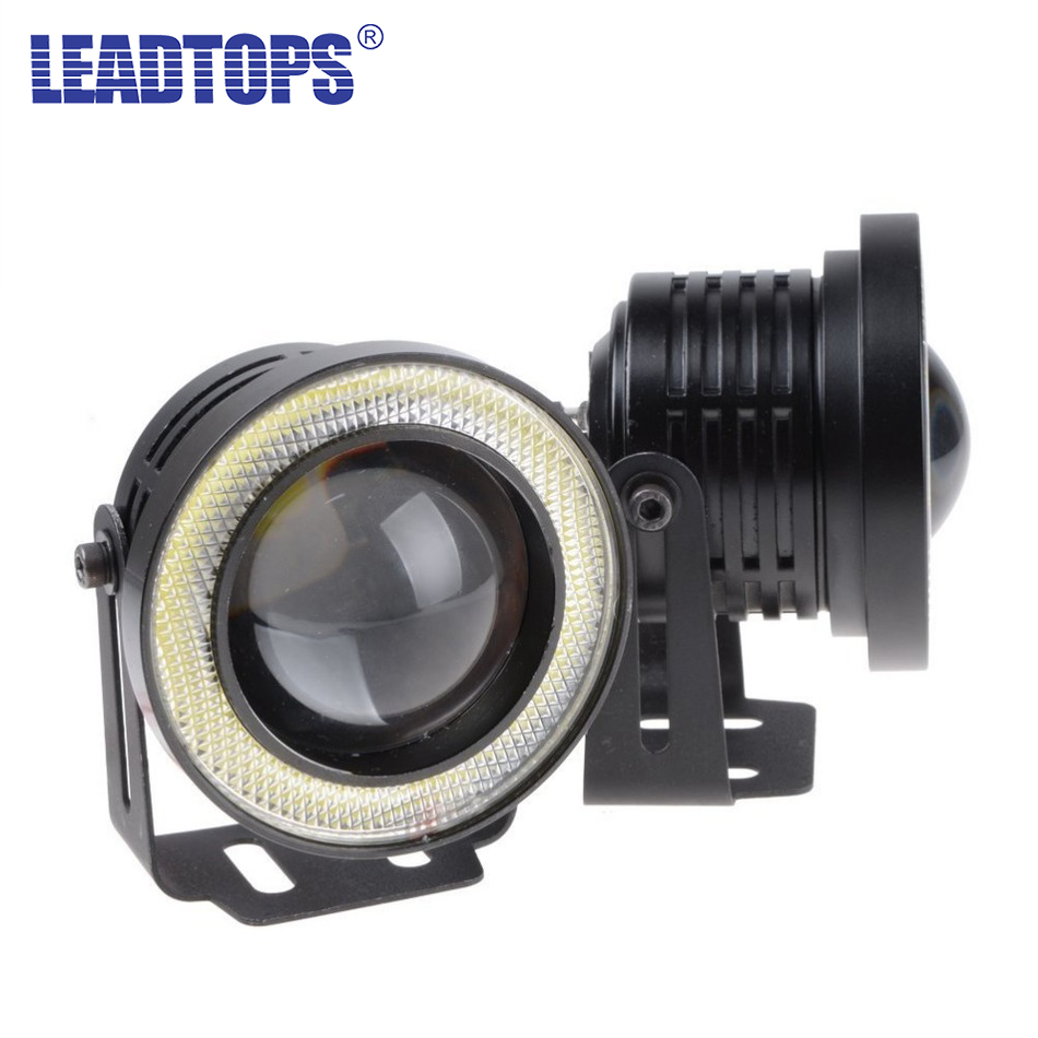 LEADTOPS Hot 2pcs/lot Universal 3.5 Inch 89mm Led COB Fog Light Car Auto Fog Angel Eyes With Lens DC12V-24V Any Car Can Use BE цена