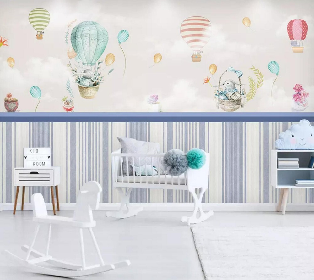 [Self-Adhesive] 3D Cute Hot Air Balloon Cartoon 6 Wall Paper Mural Wall Print Decal Wall Murals