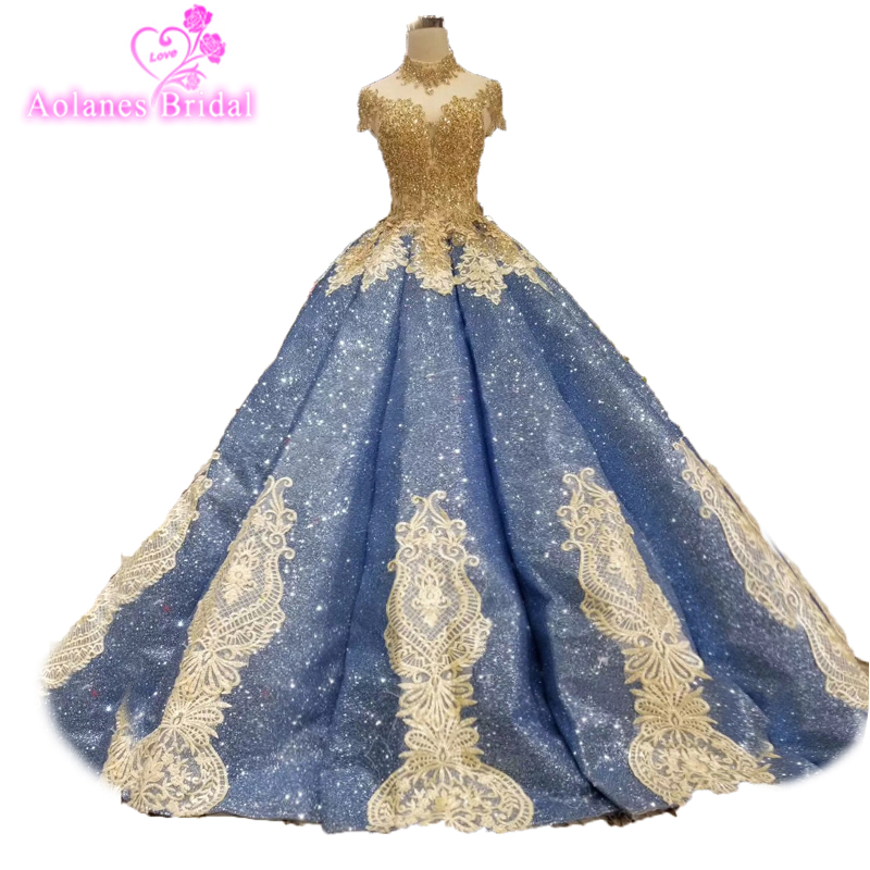 2019 New Style Glitter Ball Gown Lebanon Crystals Lace Prom Dresses Arabic Puffy  Party Dress Dubai Evening Dress Robe De Soiree 660d94a86b75