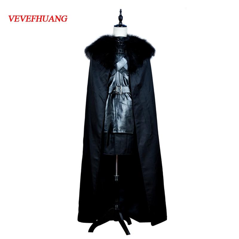 VEVEFHUANG halloween kostuums voor mannen volwassen games lied van ijs en vuur game fancy pak cosplay of thrones jon sneeuw kostuum mannen