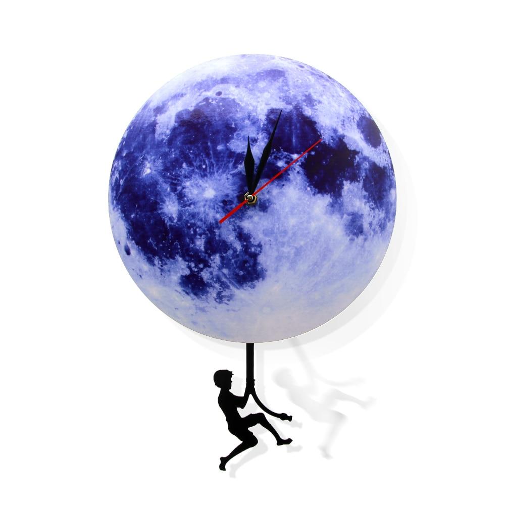 Blue Moon Swinging Pendulum Clock Astronomy Home Decor Funny Wall Clock Lunar Blue Moon Clock With Swinging Silhouette Pendulum