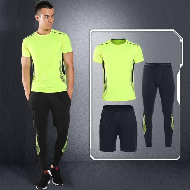 LEFAN Sport Suits 3pcs Men Elastic Quick-dry Running Basketball Fitness Sets Training Sportswear Clothes Male Gym Workout Sets