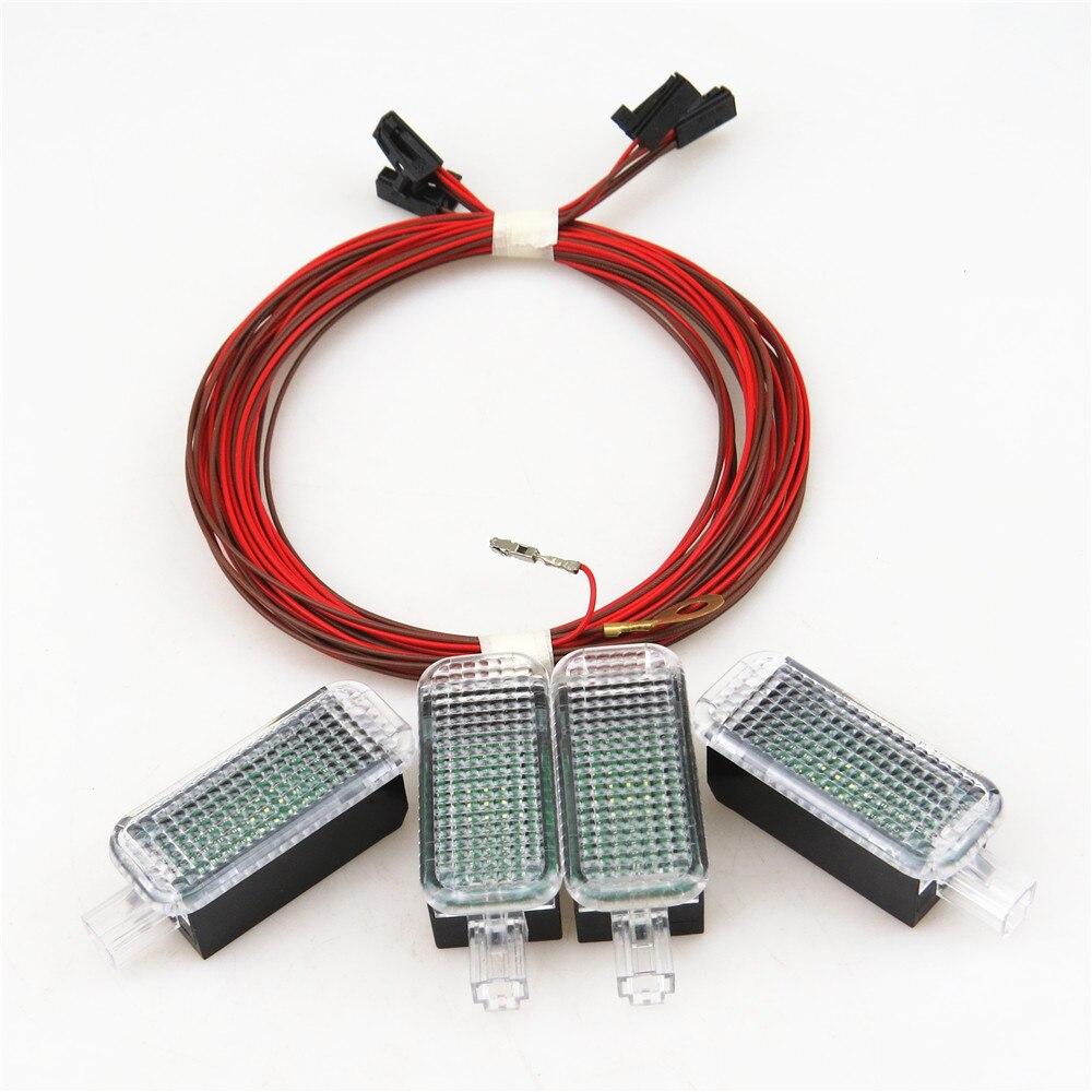 Auto Innen Fuß lampe LED Fußraum licht + Kabelbaum Für VW JETTA GOLF MK5 MK6 PASSAT B6 B7 A4 q3 Q5 SITZ LBIZA 3AD 947 409