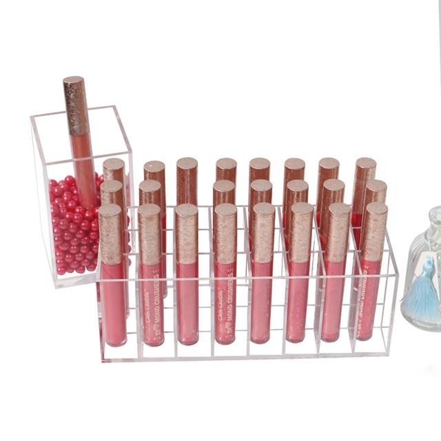2018 New arrival acrylic makeup organizer lipstick holder lip gloss storage box lipstick storage case 24  clear