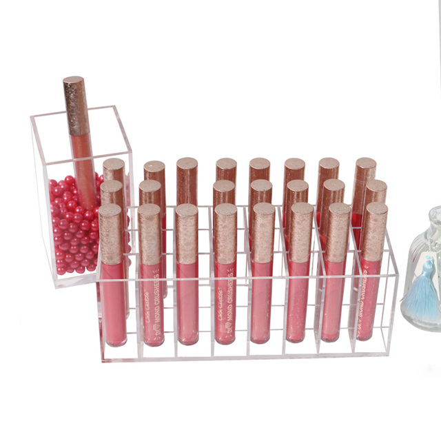 2018 nueva llegada organizador de maquillaje acrílico lápiz labial soporte brillo labial caja de almacenamiento de lápiz labial 24 transparente