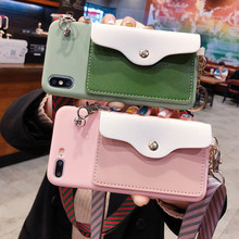 Cute Pink Green Candy Color With Card Pocket Lanyard Case For Huawei P30 P20 P10 Mate 10 20 Pro Lite Honor 8X 7X 8A 9