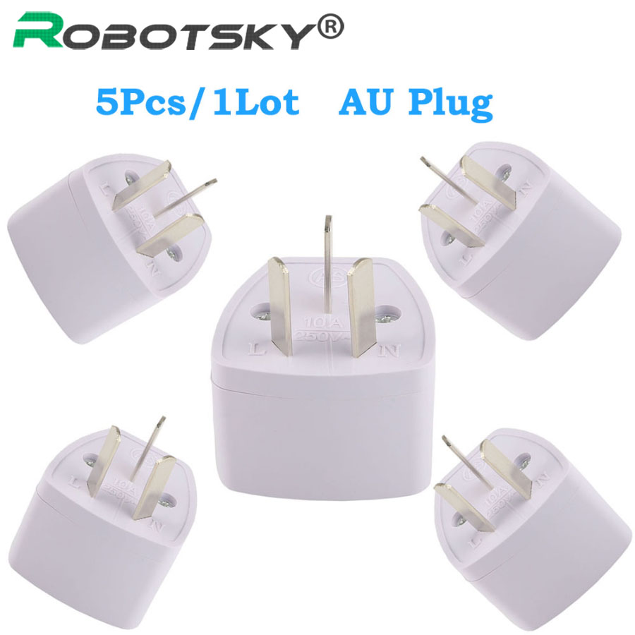 5pcs  1 lot top quality universal au plug 3 pin power plug adapter travel charger converter