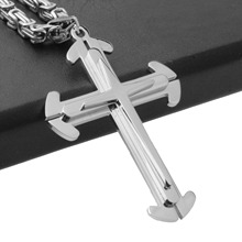 Granny Chic Cross Pendant Necklace For Men Polished Silver Stainless Steel Byzantine Link Chain Hip Hop Jewelry