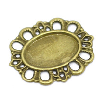 Doreen Box Lovely 50 Antique Bronze Filigree Cabochon Setting Wraps Connectors Embellishments 30x26mm(Fit 18×12.5mm)  (B18551)
