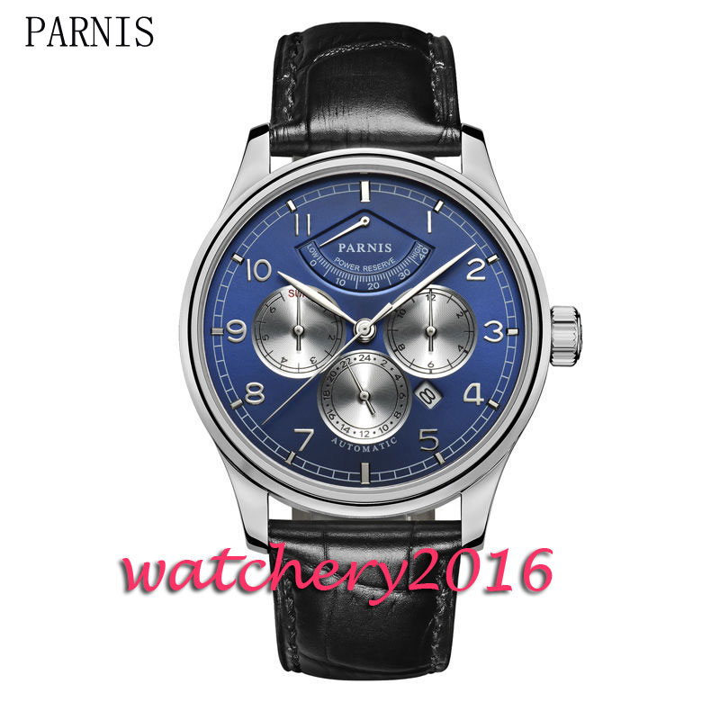 42mm blue dial sapphire glass mens watches top brand luxury automatic mechanical power reserve miyota automatic Men's Watch 42mm parnis withe dial sapphire glass miyota 9100 automatic mens watch 666b
