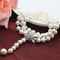 Neueste frauen Trendy Schmuck Einfache Design Shell Perlenkette Mit Echtem 925 Sterling Silber Stieg Blume Spange SPN-D014