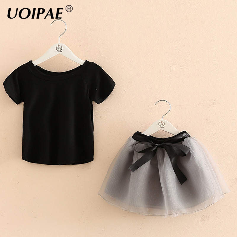 Girls Clothing Sets 2018 Casual Solid Color Kids Sets Short Sleeve T Shirt+Net Yarn Skirt Simple 2 Pcs Kids Clothes B0419