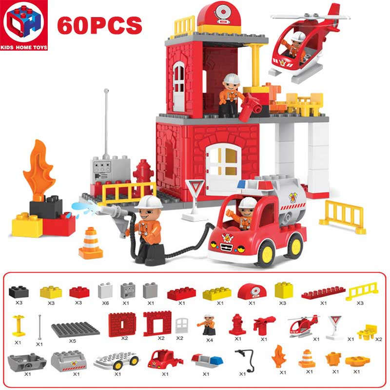 Kid's Home Toys City Fire Station Fire Engine Duplo Large Size Building Blocks Fireman Figures Large Particle Compatible Duplo kid s home toys large particles happy farm animals paradise model building blocks large size diy brick toy compatible with duplo