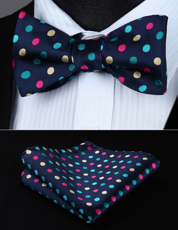 BD705VS Polka Dot Navy Blue Bowtie Men  Silk  Wedding Self  Bow Tie Handkerchief Set