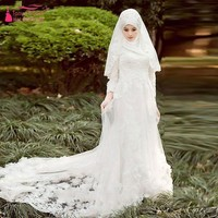 Long Sleeve winter Muslim Wedding dresses with Hijib elegant Lace Bridal Dresses A Line weeding dress Z486