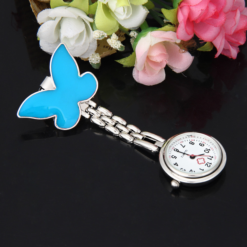 Excellent Quality Pocket Medical Nurse Fob Watch Women Dress Watches Clip-on Pendant Hanging Quartz Clock Butterfly Shape