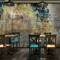 Free Shipping Retro Letter Graffiti Wallpaper Nostalgic Brick Wall Wallpaper Cafe Lounge Bar KTV Background Large