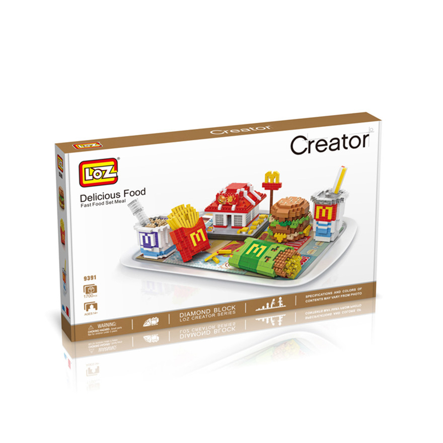 LOZ Food moodcake sushi McDonald DIY educational toys for children hamburger French fries pie building block Figures Kids Gift