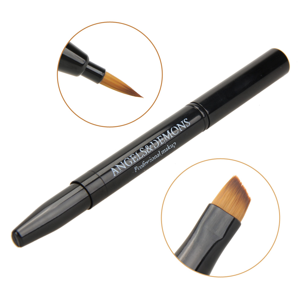 Professional Stylish Double-headed Retractable Black Makeup Blush Lip Brush Eyebrow Brush Cosmetic Adjustable Tool