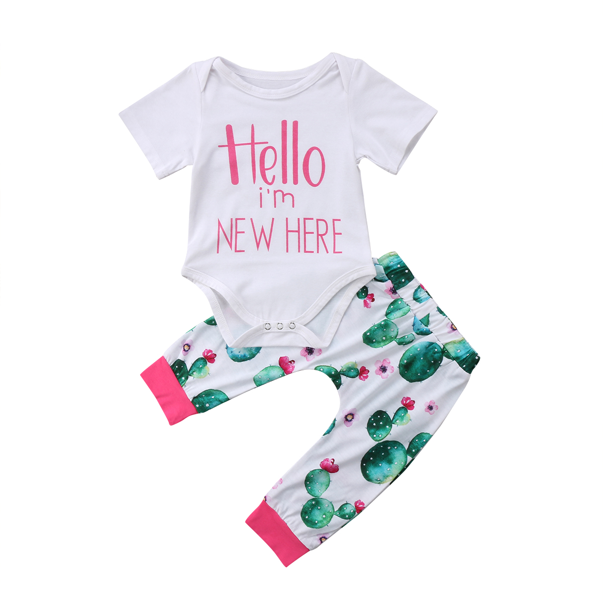 Lovely Newborn Baby Boy Girl Short Sleeve Tops Romper Cactus Print Long Pants 2Pcs Outfits Clothes