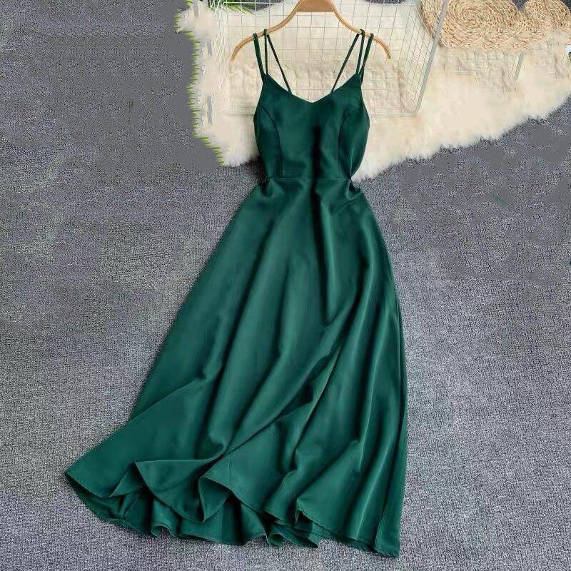 Marwin 2019 nouveauté été vacances robe croix Spaghetti sangle dos ouvert solide plage Style cheville longueur femmes robes