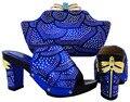 2016 azul real Zapatos Italianos Con Bolsos A Juego Para El Partido, de alta Calidad Zapatos Y Bolsas Establecidas para la Boda Africana HJT1-12