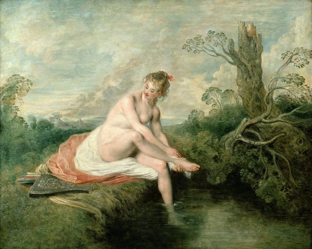 Huge Oil Painting Naked Young Woman Bathing By The Stream In Sunset Landscape