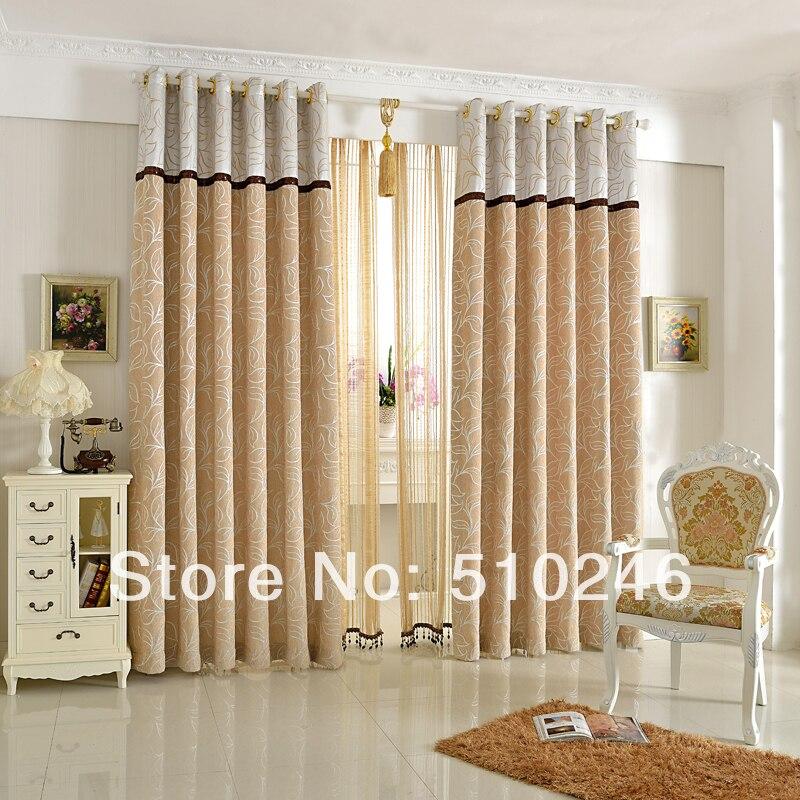 nueva llegada personalizado jacquard chenilla beige puerta saln cortina de la ventana cortina cortina lazo ojal varilla de perf