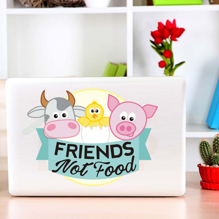 Friends Not Food Cartoon Animal Color Wall Sticker For Kids Rooms Computer Creative Pig Cow Bird Art Decals Home Decoration