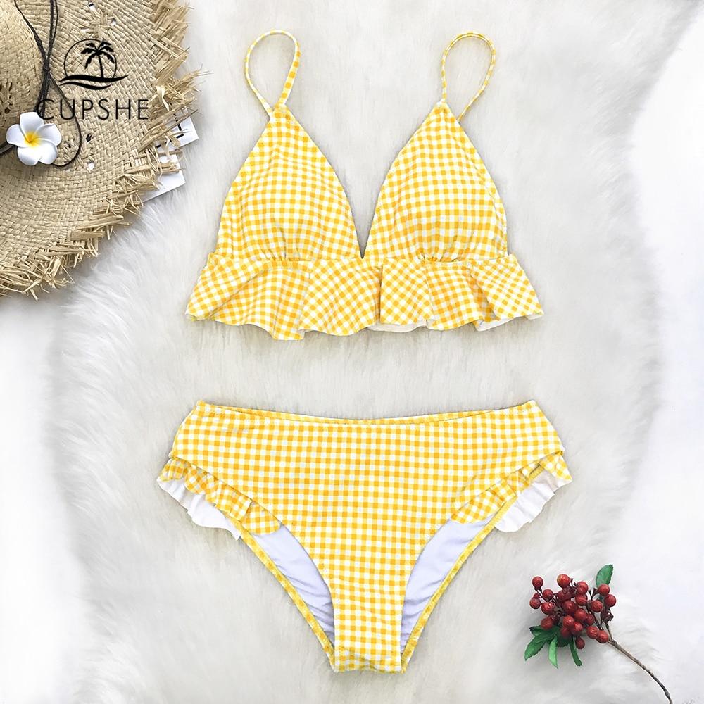 CUPSHE Yellow Gingham Ruffled Bikini Sets Women Sweet Two Pieces Swimsuits 2019 Girl Beach Bathing Suits Swimwear