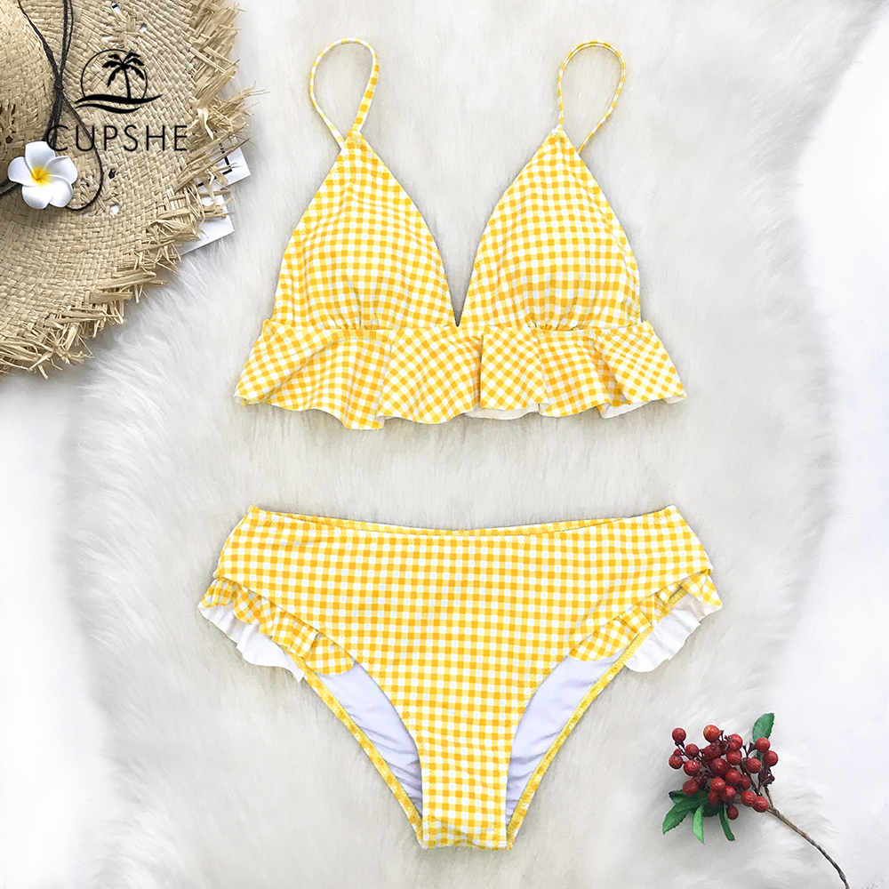 CUPSHE Yellow Gingham Ruffled Bikini Sets Women Sweet Two Pieces Swimsuits 2020 Girl Beach Bathing Suits Swimwear|Bikini Set|   - AliExpress