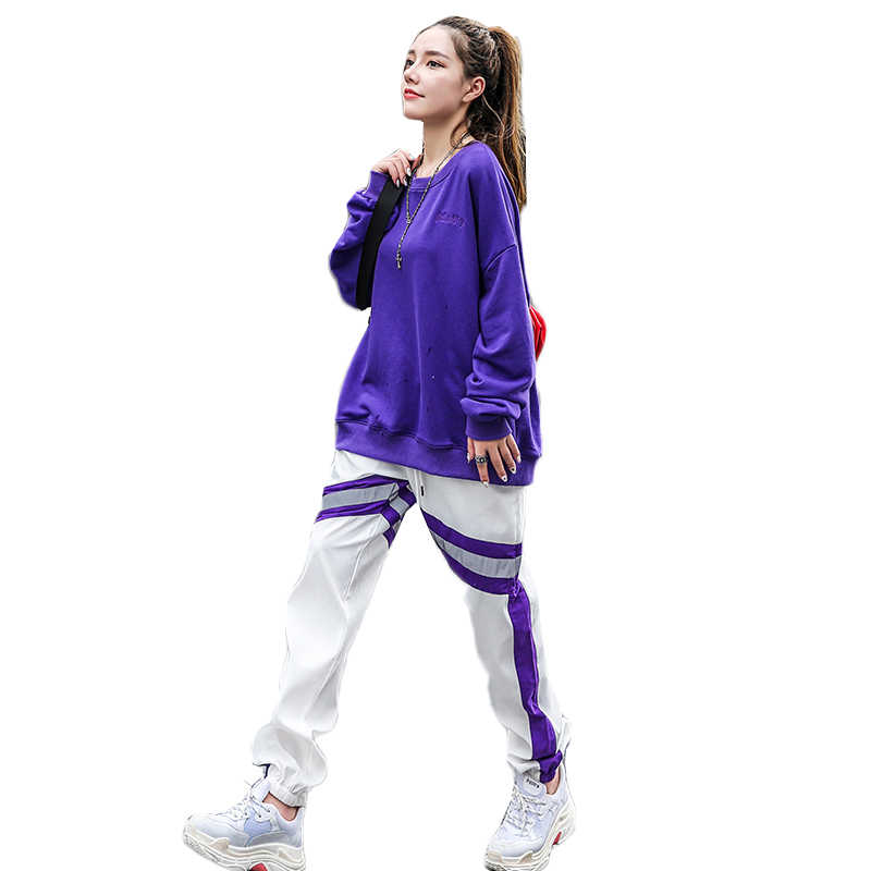 Harajuku style Sweatshirt Suit Female Long sleeve Tops +Trousers Two-piece Women's Spring Large Size casual Tracksuit Set W671