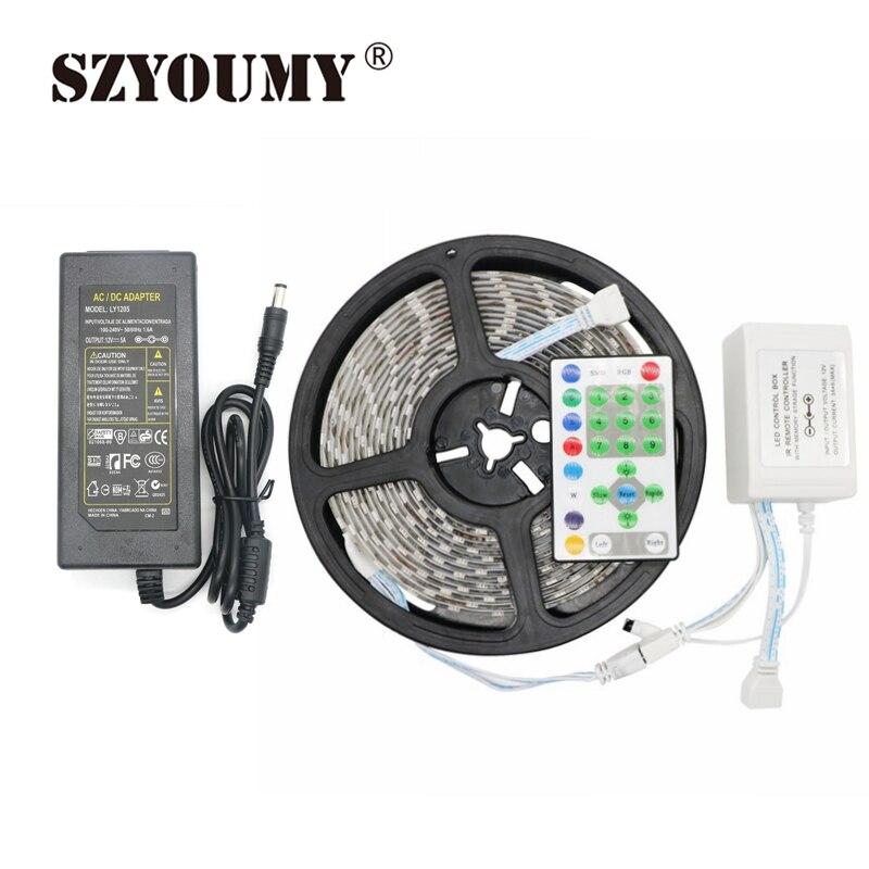 SZYOUMY 5 M SMD 5050 54 LED s/M RVB Cheval De Course Course Bande IP65 RVB LED Bande + 25key Contrôleur IR + 1 pièces 12 V 5A Adaptateur secteur