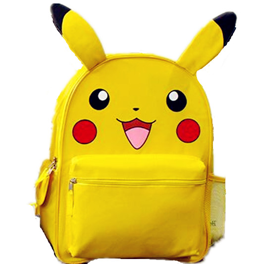 Monster Yellow Pikachu Small Big School Ryggsekk Book Bag med Øre - Ryggsekker
