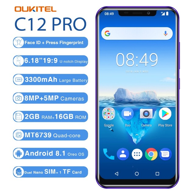 Oukitel C12 Pro Face ID 6.18Inch 19:9 U-notch Display Android 8.1 2GB RAM 16GB ROM MT6739 3300mAh Battery 8MP+5MP 4G Smartphone 1
