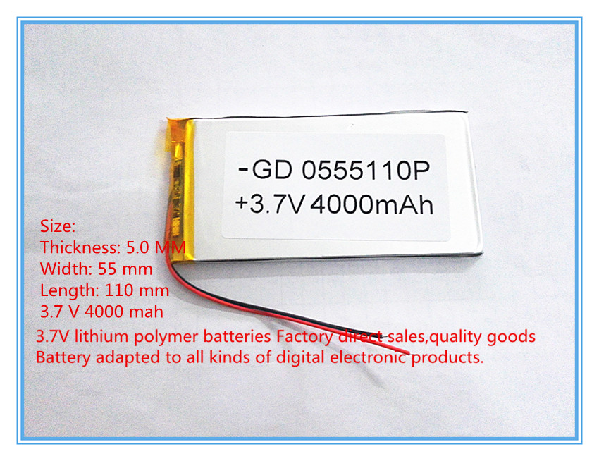 best battery brand Free shipping 3.7 V lithium polymer battery 4000 mah large-capacity PDA tablet PC MID 5055110 free shipping 3 7 v 5000 mah tablet battery brand tablet gm lithium polymer battery 3088128