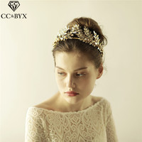 CC Tiaras And Crowns Hairband Vintage Crystal Leaf Design Forest Style Wedding Hair Accessories For Bridal Hairwear Jewelry O870