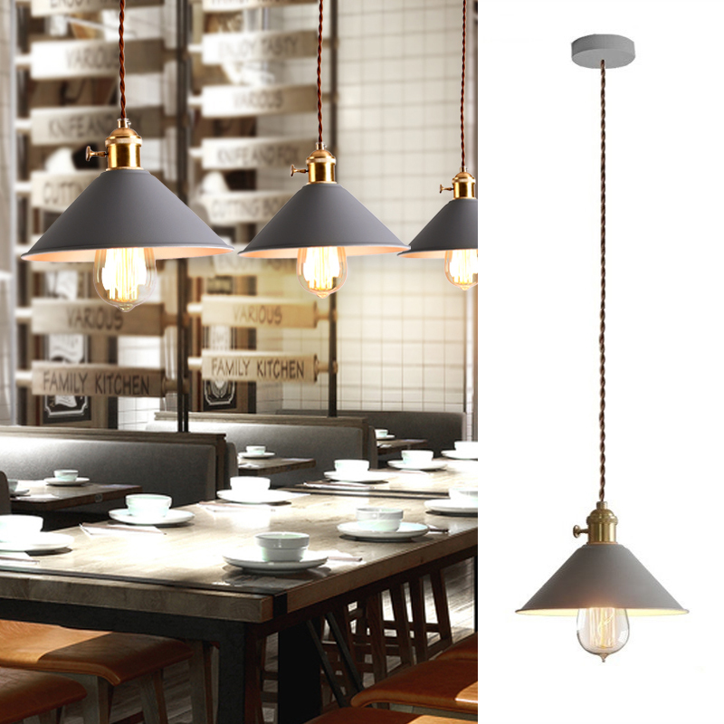 Kitchen Island Pendant Light Gray Metal Lighting Fixtures