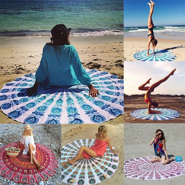 ¡ NUEVO! moda boho hippie tapiz tapiz indio mandala ronda impreso playa tiro toalla yoga mat manta alfombra decoración del hogar