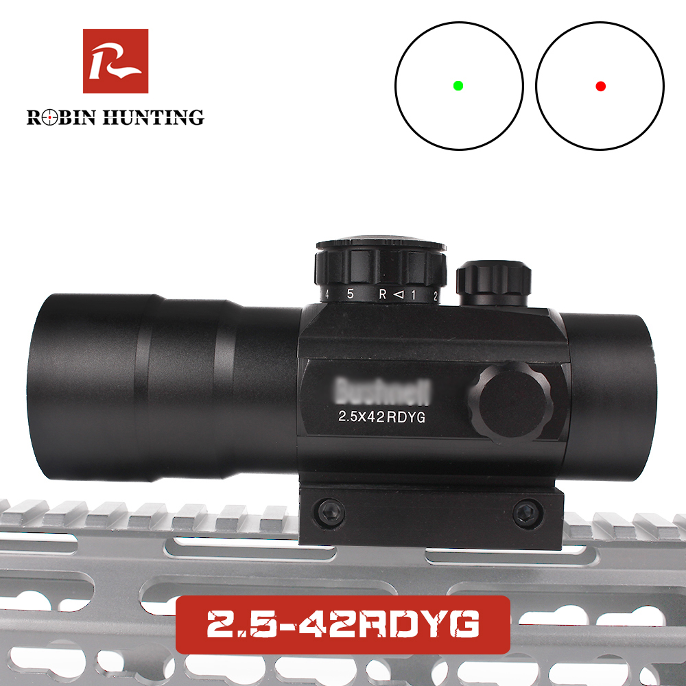 2.5x42 RDYG Red Dot Riflescope Optical Sight Illumination Sight With  Picatinny Rail Mount For Hunting Shot Gun Airsoft Red Dot